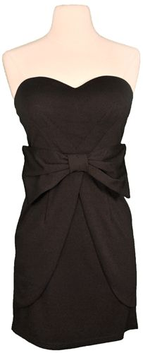 Little Black Dress. bow on front, sweetheart neckline