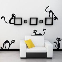 Samolepka na stěnu Velké nezbedné kočky, černá