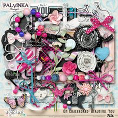 On Chalkboard: Beautiful You Kit and Alpha by Palvinka Designs | Digital Scrapbook @ at The Digichick