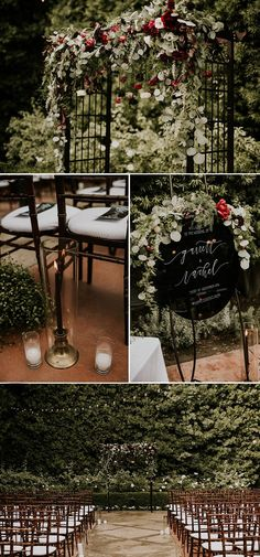 We love all the overgrown greenery and red floral accents at this elegant garden wedding ceremony | Image by Jami Laree