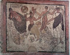 Museo Romano de Mérida. Merida Roman Museum Mosaic with Bacchanalian scenes