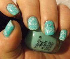 Lunch at Tiffany's Manicure. Pretty! Tells what colors and stamps to get that effect. Nice.