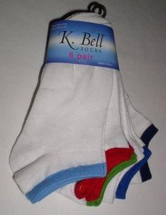 K. Bell Women's/Girls No Show Socks 6 Pair, White/Assorted Bright, 9-11 K. Bell. $24.95