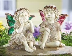 Set of 2 Decorative Mosaic Wing Angel Garden Fairy Statues