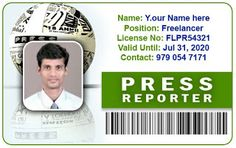 Press Reporters ID Card - Horizontal ID Card Template by Webbience, coimbatoe
