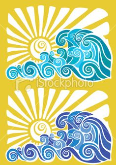 Hawaiian sunset and waves stencil Royalty Free Stock Vector Art Illustration