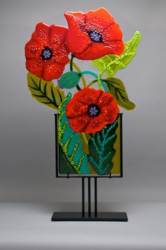 Poppies in the Wind by Anne Nye (Art Glass Sculpture) | Artful Home