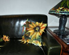 Felted decorative pillowcase / pillow cover / sunflowers  /
