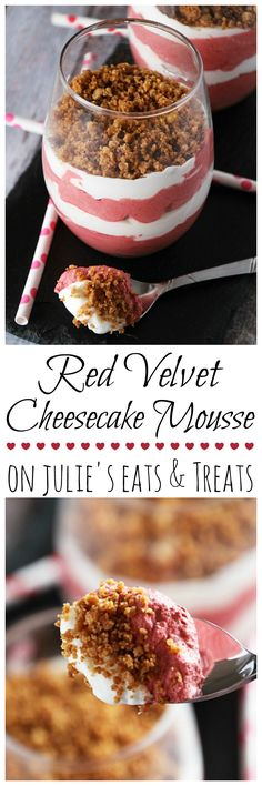 Red Velvet Cheesecake Mousse ~ Light & Fluffy Red Velvet and Cheesecake Layered Mousse and Topped with Graham Cracker Crust! on MyRecipeMagic,com