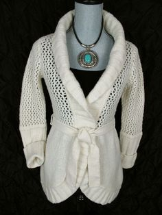 Anthropologie Moth Sweater M White Crochet Cardigan Wrap Knit Top Shawl Collar #Anthropologie #Cardigan