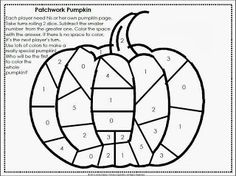 Patchwork Pumpkin Math Freebie ... Subtraction