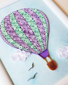 Quilling Art with Hot Air Balloon. The picture is made with paper strips. Please let me know through ETSY conversation if you have an questions! Arte Quilling, Paper Quilling Cards, Quilling Work, Origami And Quilling, Paper Quilling Patterns, Quilled Paper Art, Quilling Paper Craft, Paper Quilling For Beginners, Quilling Techniques