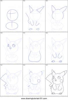 How to Draw Ninja Pikachu from Pokemon Printable Drawing Sheet by DrawingTutorials101.com