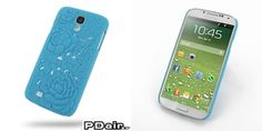 PDair Embossed Plastic Hard Back Cover for Samsung Galaxy S4 SIV LTE GT-i9500 GT-i9505 - Rose Blossom Series (Blue)