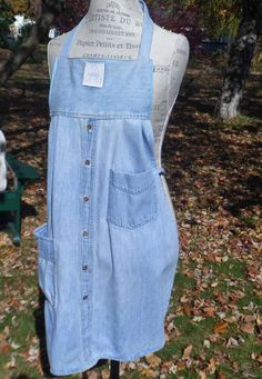 Denim Apron from Repurposed Man's Shirt by ZigZagity on Etsy
