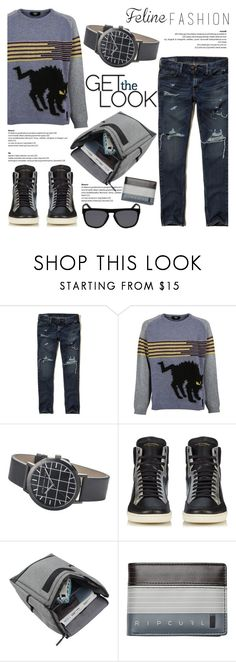 """""""Get the Look!"""" by christianpaul ❤ liked on Polyvore featuring Hollister Co., Fendi, Yves Saint Laurent, Rip Curl, Salvatore Ferragamo, men's fashion, menswear, contestentry, catstyle and felinefashion"""