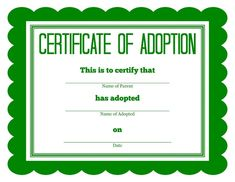 Stuffed Animal Birth Certificate Template Luxury God – Simon Says Adoption Certificate Template Birth Certificate Template, Adoption Certificate, Printable Certificates, Free Pet Adoption, Adoption Party, Animal Adoption, Adoption Center, Beanie Boo Party, Beanie Boos