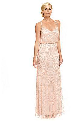 Adrianna Papell Beaded Chiffon Blouson Dress - Blush Pink ...