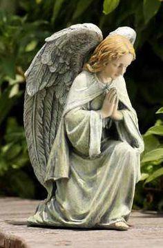 "Kneeling Angel Statue 11.75"" tall. Resin/stone mix. Indoor/Outdoor uses. (#19078)"