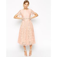 ASOS Lace Crop Top Midi Prom Dress ($113) ❤ liked on Polyvore featuring dresses, midi dress, lace overlay cocktail dress, scalloped lace dress, pink lace dress and prom dresses