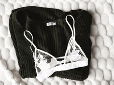 appliqué bralette + knit sweater