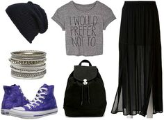 This next outfit is ultra-cool and trendy, with maybe just a touch of grunge, so it would be ideal for a class-to-night-out scenario (maybe hitting a rock concert on a Friday night?). I love the eclectic pairing of a casual cropped graphic tee and a more dressy sheer black maxi skirt. A pair of purple hi-top sneakers adds color and makes the look more fun and youthful.Keep the accessories simple with a sleek black backpack and silver bangles.