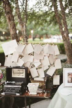 C uses our typewriter for everything. Love this idea! Dallas Garden Wedding- vintage typewriter and well wishes Working Typewriter, Portable Typewriter, Garden Wedding Decorations, Table Decorations, Floral Event Design, Wedding Guest Book Alternatives, Vintage Typewriters, Alternative Wedding, Our Wedding