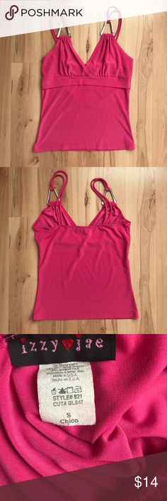 Hot Pink Tank Size S. Chest is not padded. Large silver metal triangle detail on each strap. Chest 13in. Waist 12in. Length 19in. Tops Tank Tops
