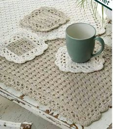 Crocheted placemats and coasters