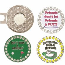 Bling Putting Pack includes a standard hat clip with your favorite putting themed bling markers: friends, gimme, and get in the hole bitch.