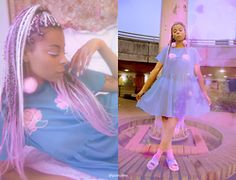Shady Kleo - Light Before Dark Pink Pom Pom Earrings, Lazy Oaf Mesh Dress, Topshop Kitty Socks, Adidas Pastel Sliders - Dreamy Pastel