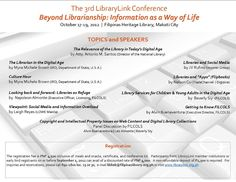 """Filipinas Heritage Library will be hosting the 3rd LibraryLink Conference on the theme """"Beyond Librarianship: Information as a Way of Life"""", to be held on October 17-19, 2012.  The Conference aims to serve as a venue for discussion and interaction as well as to promote awareness on relevant issues concerning librarianship and information services. Myra Brown, Information Resource Officer from the U.S. Department of State will be the Keynote Speaker."""