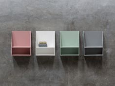Clara has decided to hang a few shelves above her desk. Available in four colours, 24x12x30 cm. Price DKK 59,00 / SEK 79,00 / NOK 86,00 / EUR 8,26 / ISK 1649 / GBP 7.85
