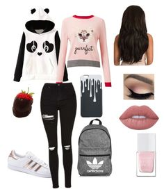 """Untitled #3"" by emely-lucas on Polyvore featuring adidas, Miss Selfridge, Lime Crime and The Hand & Foot Spa"