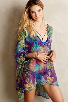 Lumosette Silk Cover-Up #anthropologie--great colors!