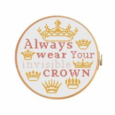 Excited to share the latest addition to my #etsy shop: Your invisible crown - cross stitch pattern - modern cross stitch funny cross stitch quote words motivation primitive sarcasm http://etsy.me/2AZFRSa
