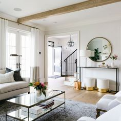 Living Room Luxury Heavens - Havenly Founder Jessie Dixon Family Friendly Home Tour. Living Room Designs, Living Room Decor, Living Room White Walls, Dark Floor Living Room, Living Rooms, Deco Paris, First Apartment Decorating, Small Condo Decorating, European Home Decor