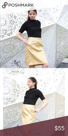 Vintage Perry Ellis Gold Silk Brocade Skirt Vintage Perry Ellis Gold Silk Brocade Skirt Perry Ellis Skirts Pencil