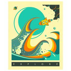 Jazzberry Blue Europa Explore Space A3 Unframed Print: Europa Explore. Inspire to explore with this retro style adventure print! By Jazzberry Blue.