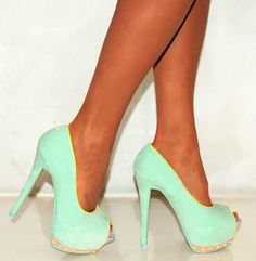 Mint High Heels! Might have to have these as wedding heels! more funny pics on facebook: https://www.facebook.com/yourfunnypics101