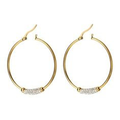 Stainless Steel Hoop Earring Dangle Drop Crystal Gold Plated Ear Jewelry -- See this great product.