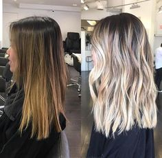 Before / after to blonde bayalage