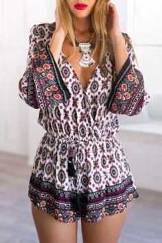 Ethnic Plunging Neck Tribe Print Long Sleeve Romper For WomenJumpsuits & Rompers   RoseGal.com