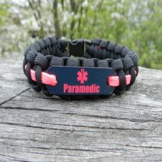 Hot Pink Paramedic Bracelet Gifts for EMS personnel and their family & friends who support them. Upgrade options http://emsalerts.com/collections/custom-orders -How To Size- Wrap a strip of paper or s