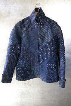 Patch jacket in rare indigo linen ikats. $1995.