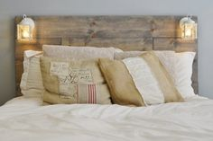 Beautiful DIY Wooden Headboard with MDF and Stikwood peel-and-stick planks! (This post might contain affiliate links. Homemade Headboards, Diy Headboards, Real Wood Furniture, Cabin Furniture, Western Furniture, Furniture Design, Rustic Wood Headboard, Twin Headboard, Beach Cottages