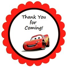 Disney Cars Party Favor Labels - These round thank-you labels are perfect for your Cars birthday party.  Print and cut out or print on sticker paper (Avery No. 22830), 9 labels per sheet and each round label is 2 1/2 inch (6.4cm) in diameter.