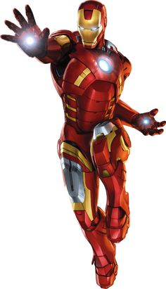 Iron man, I like this chatecter because his costume is bright and apealing and he draws you in