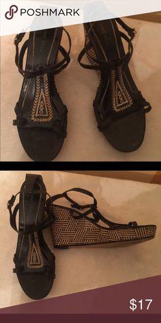 Wedge sandal Black print sandal Nine West Shoes Sandals