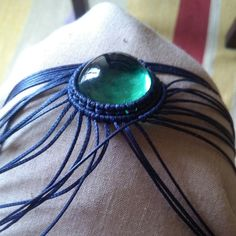 Top quality Green Fluorite from Brazil in handmade Blue Macrame choker necklace available now ;)
